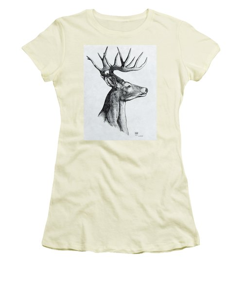 Women's T-Shirt (Junior Cut) featuring the drawing Deer by Michael  TMAD Finney