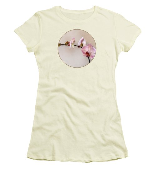 Delicate Pink Phalaenopsis Orchids Women's T-Shirt (Junior Cut) by Susan Savad