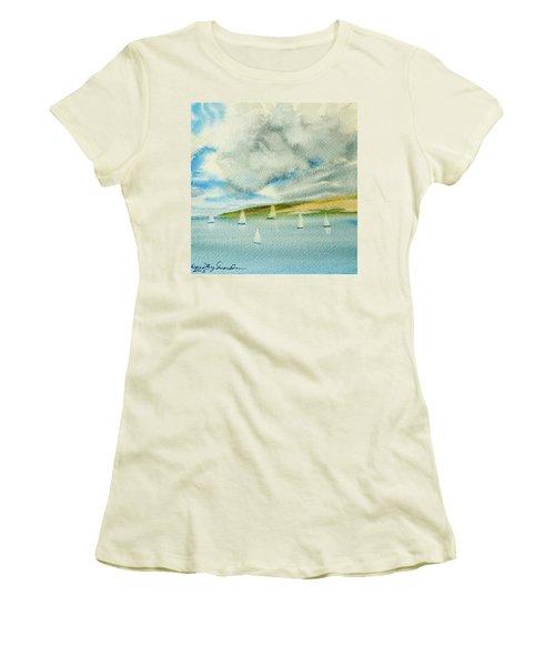 Dark Clouds Threaten Derwent River Sailing Fleet Women's T-Shirt (Athletic Fit)