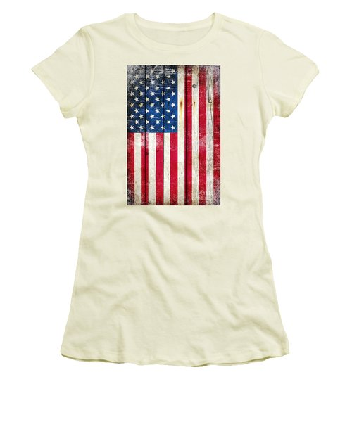 Distressed American Flag On Wood - Vertical Women's T-Shirt (Junior Cut) by M L C