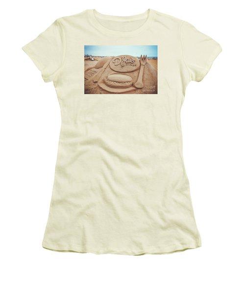 Women's T-Shirt (Junior Cut) featuring the photograph D'jais Belmar Sandcastle by Colleen Kammerer