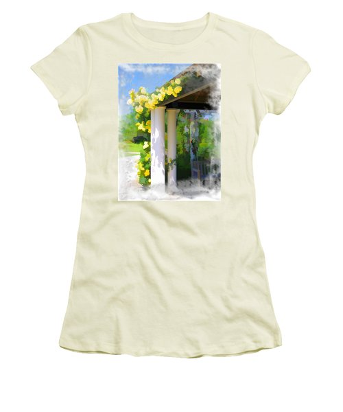 Women's T-Shirt (Junior Cut) featuring the photograph Do-00137 Yellow Roses by Digital Oil