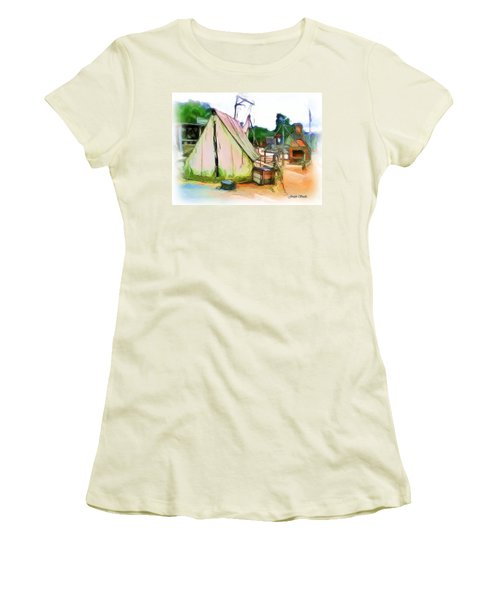 Women's T-Shirt (Athletic Fit) featuring the photograph Do-00139 Tent by Digital Oil