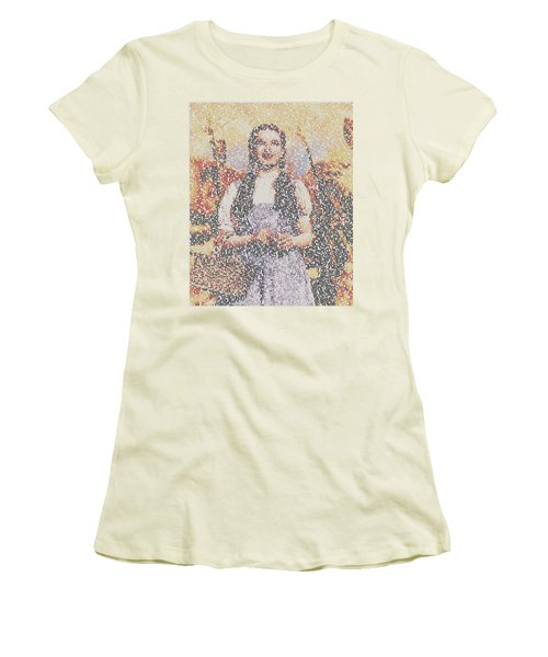 Women's T-Shirt (Junior Cut) featuring the mixed media Dorothy Made Of Wizard Of Oz Quotes by Paul Van Scott