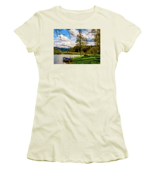 Women's T-Shirt (Junior Cut) featuring the photograph Down By The Lake Photodigitalpainting by David Dehner