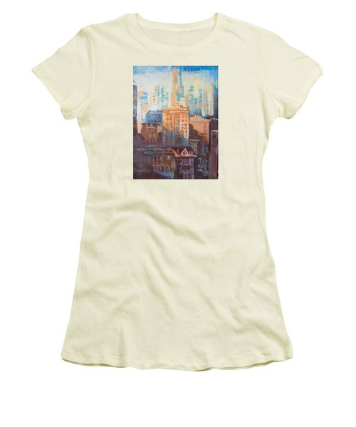 Women's T-Shirt (Junior Cut) featuring the painting Downtown Old And New by John Fish