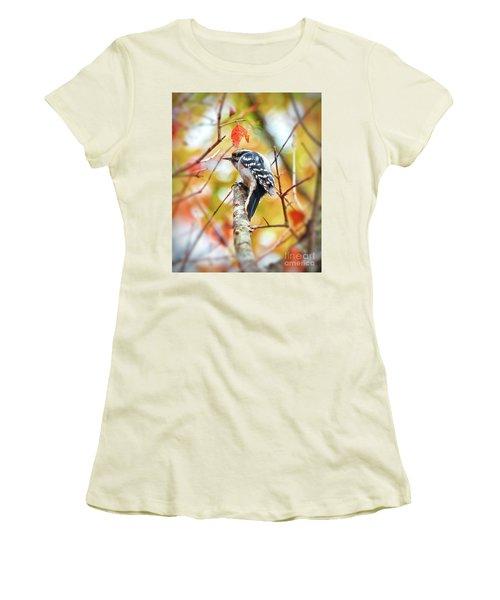 Downy Woodpecker In Autumn Forest Women's T-Shirt (Athletic Fit)