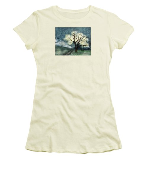 Women's T-Shirt (Junior Cut) featuring the painting Dream Tree by Annette Berglund