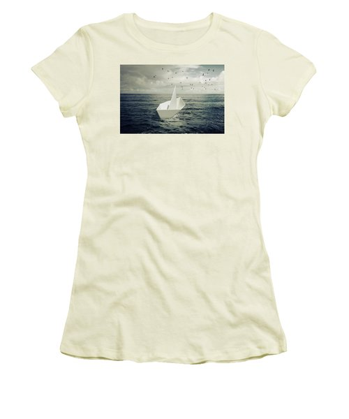 Women's T-Shirt (Junior Cut) featuring the photograph Drifting Paper Boat by Carlos Caetano