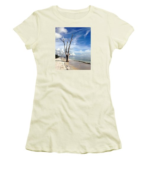 Women's T-Shirt (Junior Cut) featuring the photograph Driftwood At Lovers Key State Park by Janet King