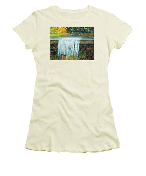 Women's T-Shirt (Junior Cut) featuring the painting Ducks And Waterfall by Michael Daniels