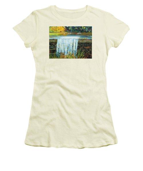 Ducks And Waterfall Women's T-Shirt (Junior Cut) by Michael Daniels