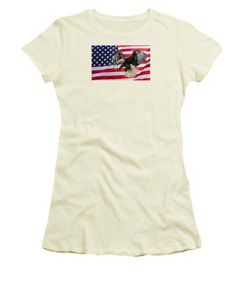 Eagle And Flag Women's T-Shirt (Junior Cut) by Scott Carruthers