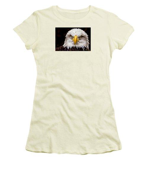 Defiant And Resolute - Bald Eagle Women's T-Shirt (Junior Cut) by Rikk Flohr