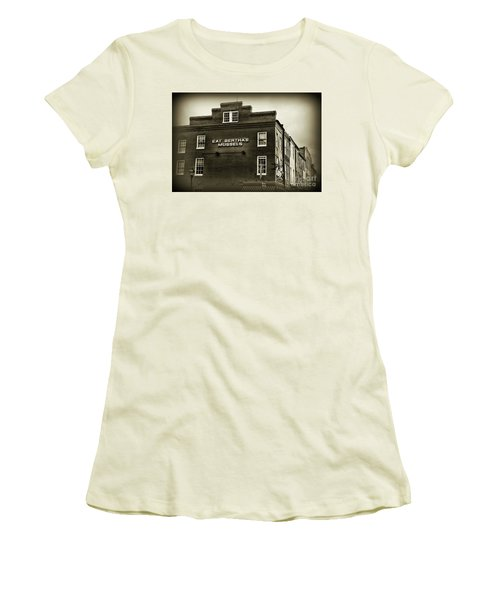 Women's T-Shirt (Junior Cut) featuring the photograph Eat Berthas Mussels In Black And White by Paul Ward