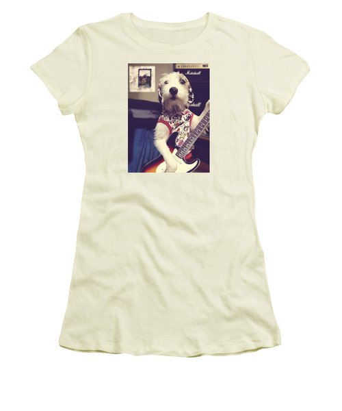 Women's T-Shirt (Junior Cut) featuring the photograph Eddie Plays Guitar by Richard Reeve