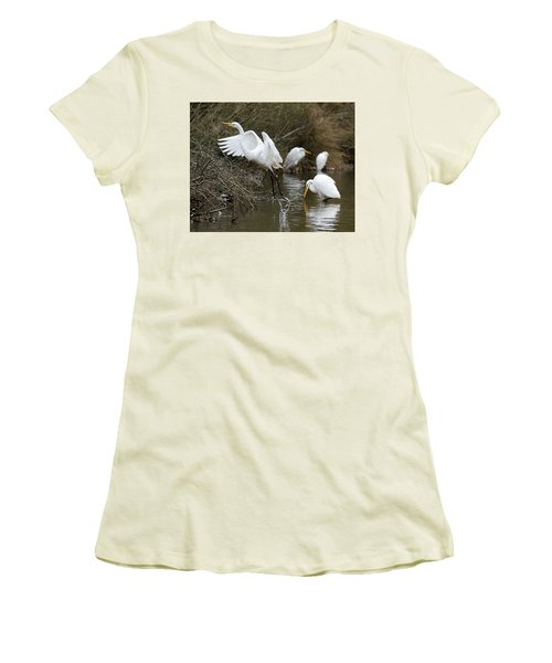 Egret Exit Women's T-Shirt (Junior Cut) by George Randy Bass
