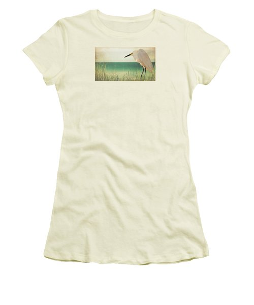 Egret In Morning Light Women's T-Shirt (Junior Cut) by Christina Lihani