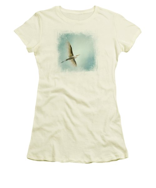 Egret Overhead Women's T-Shirt (Junior Cut) by Jai Johnson