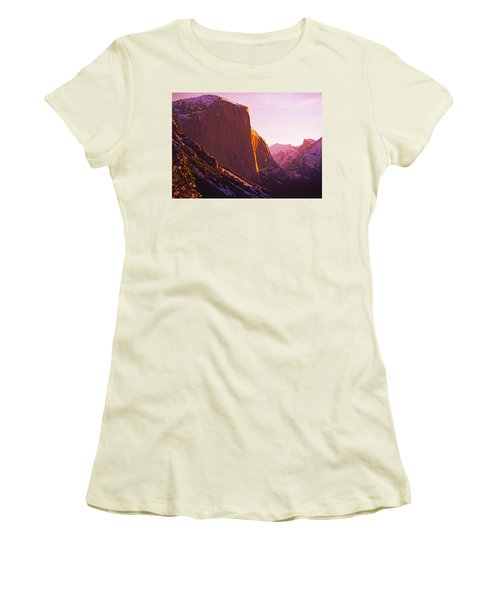 El Capitan And Half Dome, Yosemite N.p. Women's T-Shirt (Athletic Fit)
