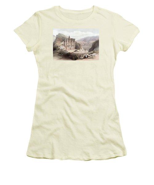 El Deir Petra 1839 Women's T-Shirt (Junior Cut) by Munir Alawi