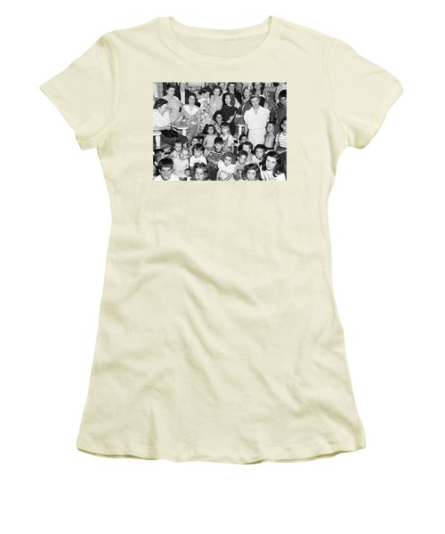 Eleanor Roosevelt And Children Women's T-Shirt (Junior Cut) by Underwood Archives