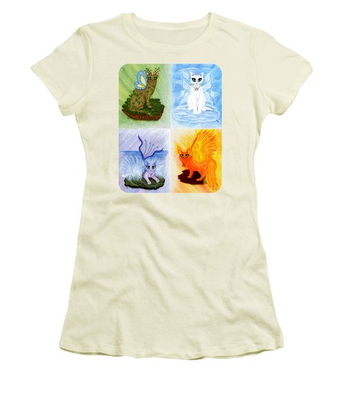 Elemental Cats Women's T-Shirt (Junior Cut) by Carrie Hawks