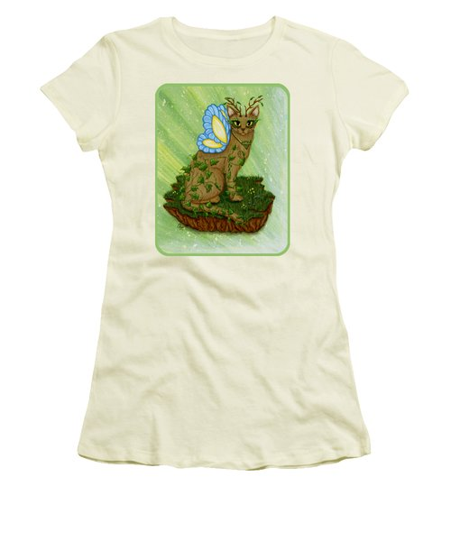 Elemental Earth Fairy Cat Women's T-Shirt (Junior Cut) by Carrie Hawks