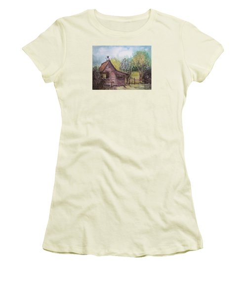 Women's T-Shirt (Junior Cut) featuring the painting Elma's Horse Barn by Gretchen Allen