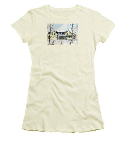 Elmridge Farm House Women's T-Shirt (Junior Cut) by Jackie Mueller-Jones