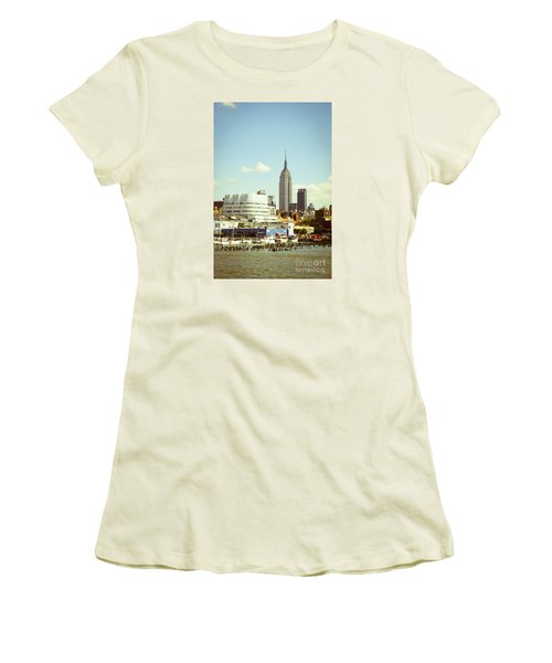 Empire State Building From Hudson Women's T-Shirt (Junior Cut) by Perry Van Munster