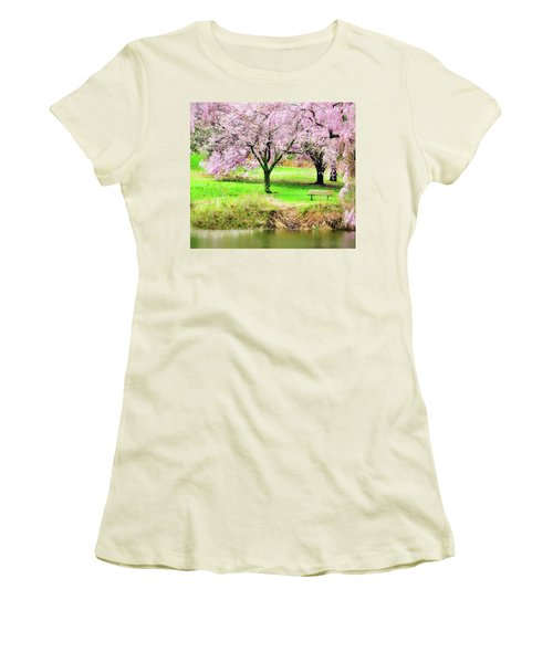 Women's T-Shirt (Athletic Fit) featuring the photograph Empty Bench Surrounded By Spring Colors by Gary Slawsky