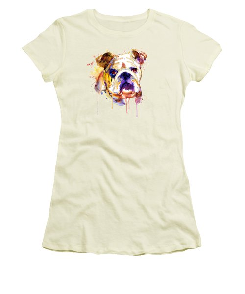 English Bulldog Head Women's T-Shirt (Junior Cut) by Marian Voicu