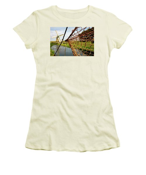 Women's T-Shirt (Junior Cut) featuring the photograph Enkhuizen Windmill And Nets by KG Thienemann