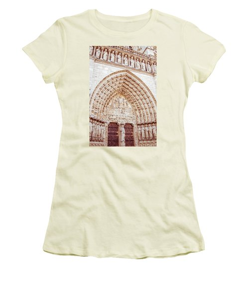 Entrance To Notre Dame Cathedral Women's T-Shirt (Athletic Fit)