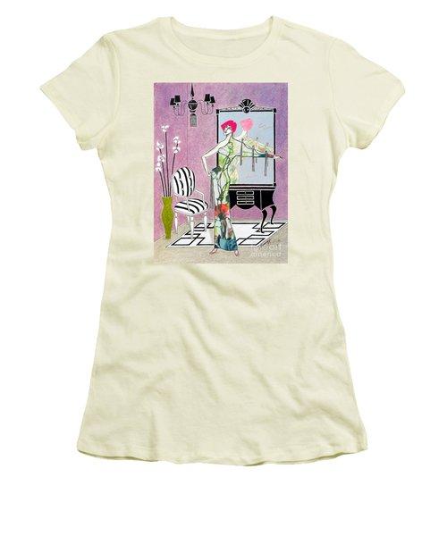 Erte'-esque -- Art Deco Interior W/ Fashion Figure Women's T-Shirt (Athletic Fit)
