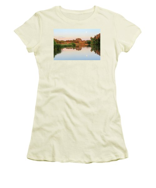 Women's T-Shirt (Athletic Fit) featuring the photograph Evening At The Lake by David Chandler