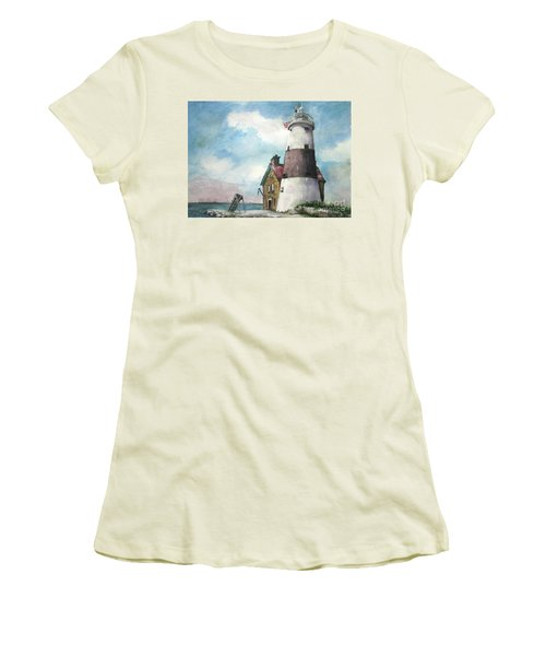 Women's T-Shirt (Junior Cut) featuring the painting Execution Rocks Lighthouse by Susan Herbst