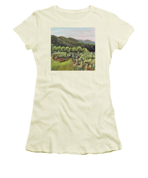 Women's T-Shirt (Athletic Fit) featuring the painting Fainting Goat Valley - Vineyards -  Jasper, Ga by Jan Dappen