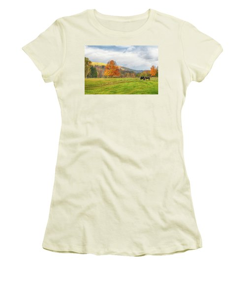 Women's T-Shirt (Athletic Fit) featuring the photograph Fall Colors After The Storm. by Jeff Folger