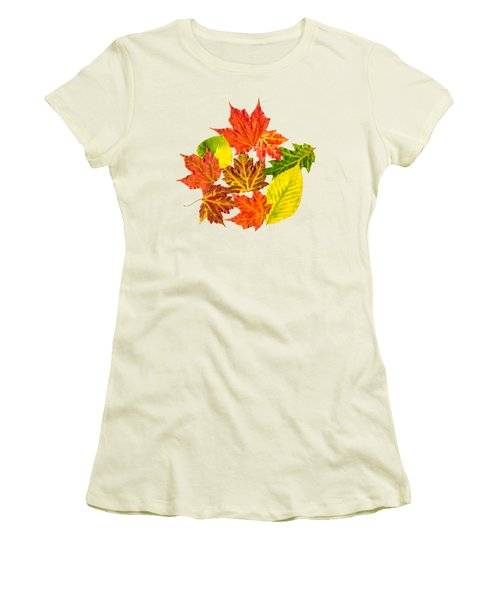Women's T-Shirt (Junior Cut) featuring the mixed media Fall Leaves Pattern by Christina Rollo