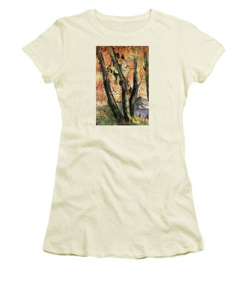Women's T-Shirt (Junior Cut) featuring the painting Fall Splendor  by Annette Berglund