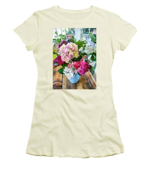 Farm Table With Vase And Flowers Women's T-Shirt (Athletic Fit)