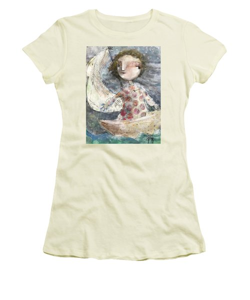 Women's T-Shirt (Junior Cut) featuring the mixed media Fearless by Eleatta Diver