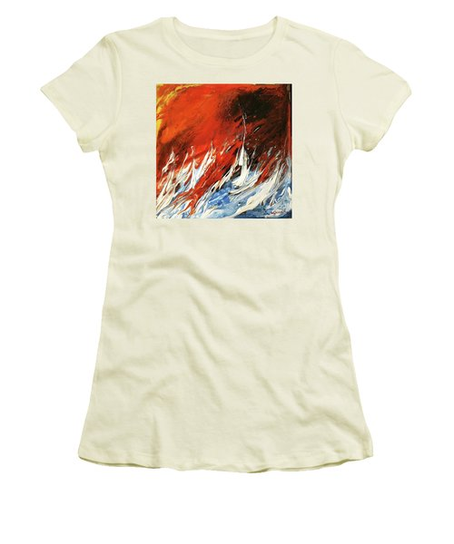 Women's T-Shirt (Junior Cut) featuring the mixed media Fire And Lava by Kathleen Pio