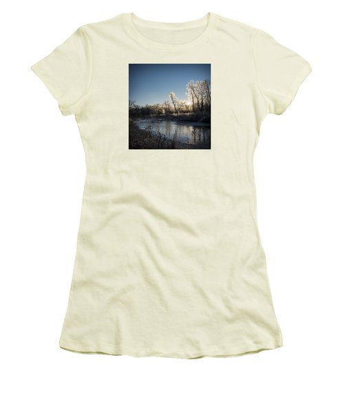 Women's T-Shirt (Junior Cut) featuring the photograph First Frost by Annette Berglund