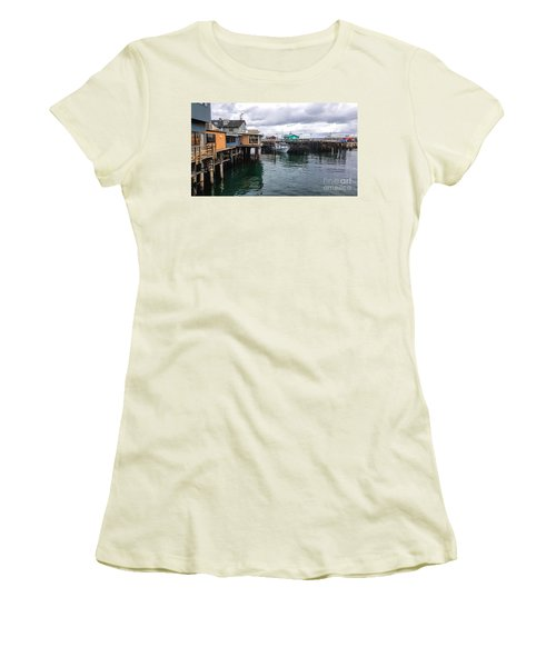 Women's T-Shirt (Junior Cut) featuring the photograph Fisherman's Wharf Monterey II by Gina Savage