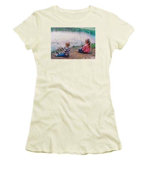 Fishing At Watkins Mill Women's T-Shirt (Junior Cut) by Steve Karol