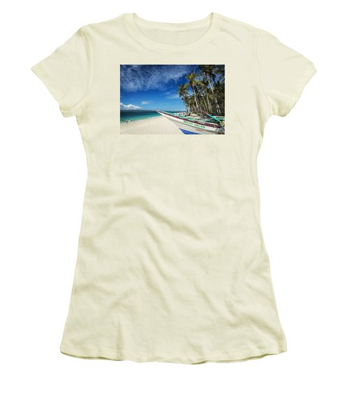 Fishing Boat On Puka Beach Tropical Paradise Boracay Philippines Women's T-Shirt (Athletic Fit)