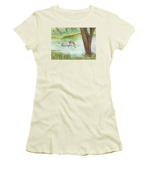 Women's T-Shirt (Junior Cut) featuring the painting Fishing Lake Tanko by Vicki  Housel